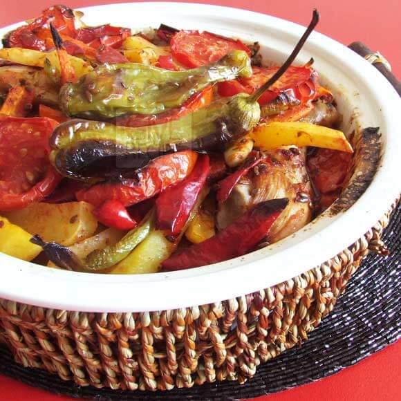 烤蔬菜鸡| giverecipe.com