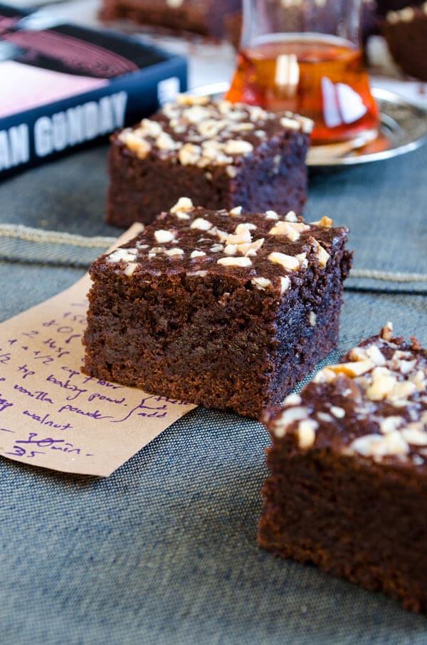 Chocolate apple brownies sliced in squares