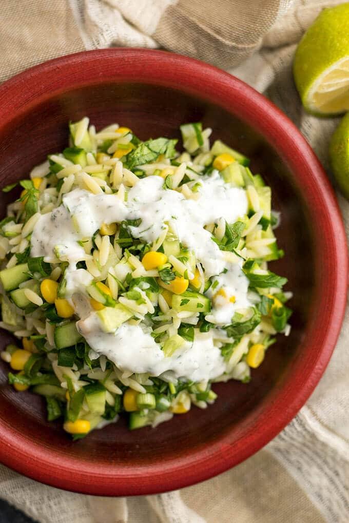 黄瓜柠檬或沙拉是烤肉派对上美味的清淡午餐或配菜。-giverecipe.com